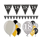 Feste Feiern Geburtstagsdeko Zum 18. Geburtstag | 13 Teile All-In-One Set Luftballon Wimpel Banner Gold Schwarz Silber Party Deko Happy Birthday
