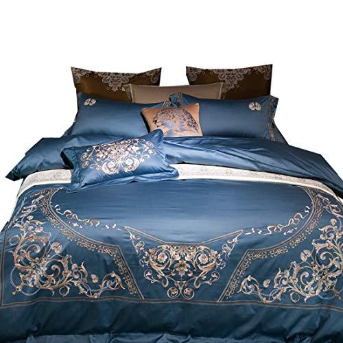 Klerokoh Einfache Blaue High-End-Stickerei aus Reiner Baumwolle, langstapeliger Baumwolle, Vier Sätze (Size : Queen) -