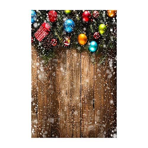ODJOY-FAN Weihnachten Fotografie Hintergründe Schnee Vinyl 3x5FT Hintergrund Fotografie Studio Weihnachten Fotostudio 3D Hintergrund Wandtattoos Dekor 90x150cm(K,1 PC)