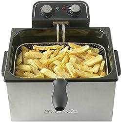 BRANDT - Friteuse XXL - 5 litres - Jusqu'à 1,6 kg de frites fraîches - 1 Panier Grande Capacité + 2 Petits Paniers Indépendants - Thermostat Réglable - Système Zone Froide