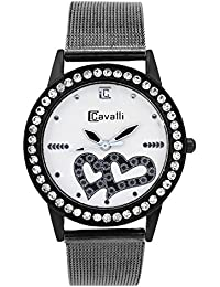 Cavalli Analogue White Dial Women'S And Girl'S Watch-Silver Hearts-CW213