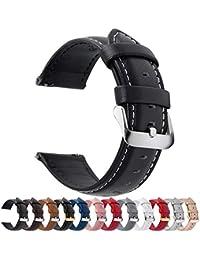 Fullmosa Bracelet Cuir Montre Femme Homme Fixation Rapide, Axus Series Watch Bracelet de Remplacement Cuir de Veau véritable avec Fermoir en métal INOX 18mm 20mm 22mm 24mm