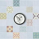 Zdmathe 3D 20 Stück 15x15cm Fliesenaufkleber Wandaufkleber Mosaik Muster Sticker Wasserdicht Selbstklebend Aufkleber für Küche Bad Wandfliesen Boden Deko
