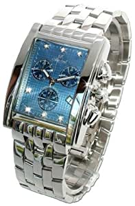 Oskar Emil Gents Rodez Steel 7 Diamond Chronograph Watch with Blue Dial