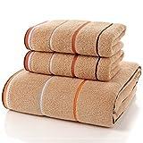 JUNHONGZHANG 3 Stück 100% Baumwolle Gestreift Handtuch Set Nach Produkte Gestreifte Dekoration Geschenk Super Saugfähig Hotel Home Schönheit Handtuch, Braun