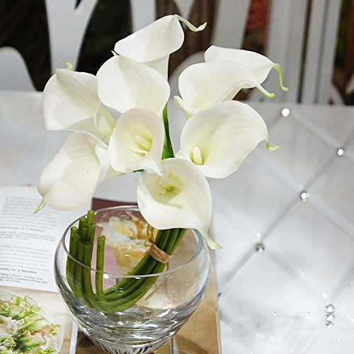 Katomi Kunstblumen, Gattung Calla-Lilien, authentisch wirkende Oberflächenstruktur, elfenbeinfarben, 10 Stück