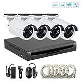 Système de Sécurité de Surveillance,Vidéo sécurité système EMAX, 960p 4pcs Caméra Bullet Plus NVR,Vision Nocturne, Détection de Mouvement,Systeme de Video Surveillance (sans Disque Dur)