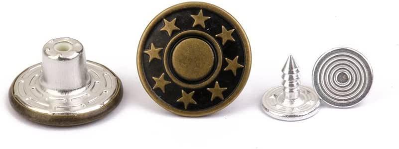 ULTNICE 50pcs Jeans Button 17mm Stars Matte Jean Tack Buttons Kit Army Green