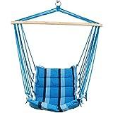 Holifine-100*150cm Hamaca sillón de Algodón Silla colgante Con Soporte Para Playa Piscina Jardin Camping Capacidad máxima: 100 kg,Azul