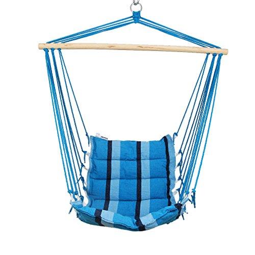 Holifine Aufhängung Hängesessel Hängestuhl mit Spreizstab, für balkon Garten outdoor und indoor, belastbar bis 100kg, Blau gestreift