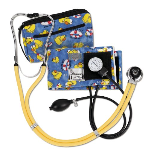 NCD Medical/Prestige Medical  Set mit Aneroid-Manometer und Doppelkopf-Stethoskop, gelbe Entchen