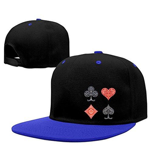 Nubia Poker Karte Symbol Sunbonnet Baseball Hat Verstellbare Flach Bill Cap Pink, Herren, Königsblau