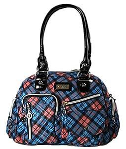 #1091 Damen Designer Handtasche Bowlingbag Print Karo Blau Lila Schwarz (Blau)