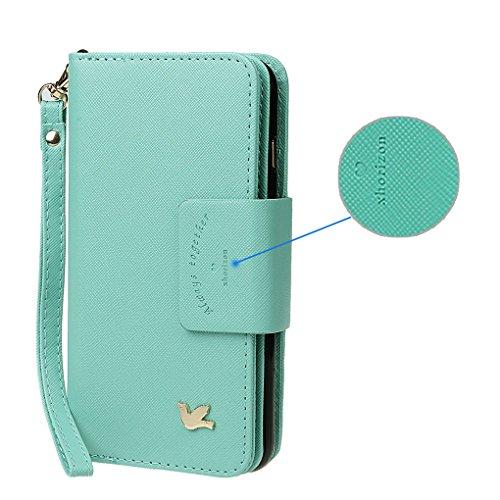Hülle für Samsung S6, xhorizon FX Prämie Leder Folio Case [Brieftasche] [Magnetisch abnehmbar] Uhrarmband Geldbeutel Flip Vogel Tasche Hülle für Samsung Galaxy S6 mit einer Auto Einfassungs Halter Minze mit Schwarz Auto Einfassung Halter