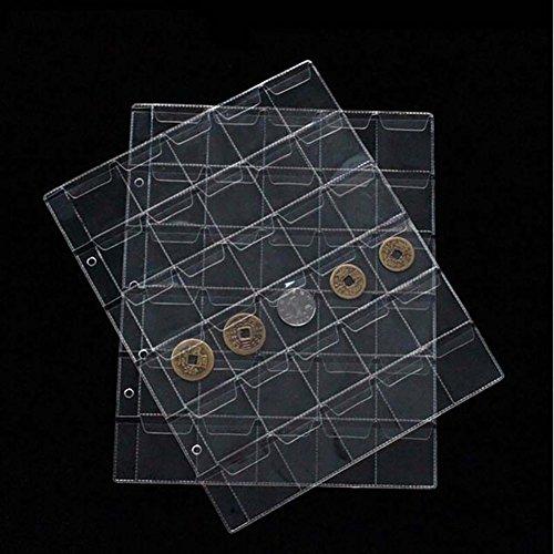 10PCs 30 Taschen Münz Album Seite Münzen Halter Collection Aufbewahrung Album Buch Seite Münzen Zubehör - Briefmarken überprüfen