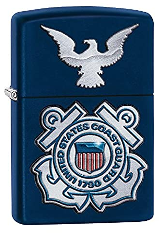 Zippo USCG Seal and Eagle Windproof Lighter - Navy Blue