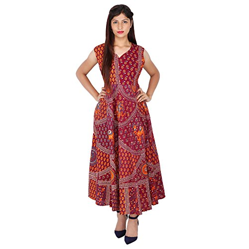 JR Print Women's Long Dress Jaipuri Animal Print Cotton  available at amazon for Rs.429