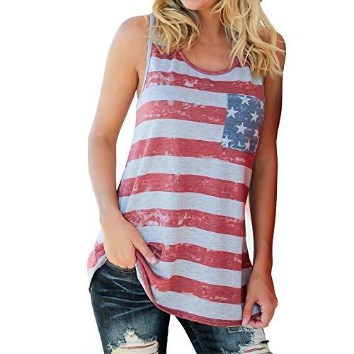 Gestreifte Damen-T-Shirts mit amerikanischer Flagge, 4. Juli, Kurzarm, lose Bluse, USA-Flagge, Tanktops S-2XL, Kurzarm, lose Bluse, USA-Flagge, Tanktops