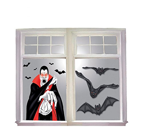Guirca Fiestas GUI19781 - Vampir Fenster-Dekoration, 100x76 - Halloween Fenster Leuchtet