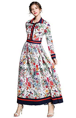 8345cd153a6299 Damen Blumen Maxikleid Bohemien 3 4 Arm A-Linie Elegant Lang Kleider  Hemdkleid Partykleid