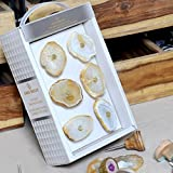 Casa Decor Set of 6 White Luxurious Natural Gem Stone Agate Knob with Floral Design Handmade Drawer Pull Cabinet Dresser Handle Wardrobe Agate Knobs