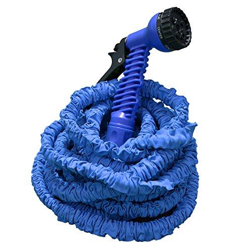 Profi Gartenschlauch Set AQUA PRO | flexibel - leicht - platzsparend | 2-fach Schlauch für hohen Druck | 7 Brause Funktionen | blau 15 m Länge