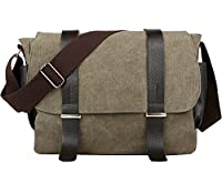 Cooler Mens Boys Vintage Canvas Shoulder Military Messenger Bag school Bags 35cm X 30cm X 10cm, 1cm = 0.3937inch