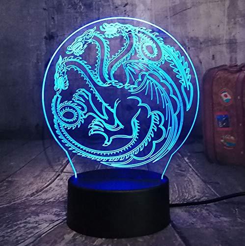 Juego de tronos Lámpara A Song of Ice y Fire House of Targaryen 3D RGB LED Luz de noche USB Lámpara de mesa Decoración para el hogar Regalo de Navidad