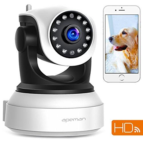 APEMAN 720P Wlan IP Kamera WIFI Überwachungskamera mit Nachtsicht Bewegungserkennung 2 Wege Audio Smart Home Kamera Unterstützung 128GB Mikro-SD Karte (Ip-kamera Wlan-sd-karte)