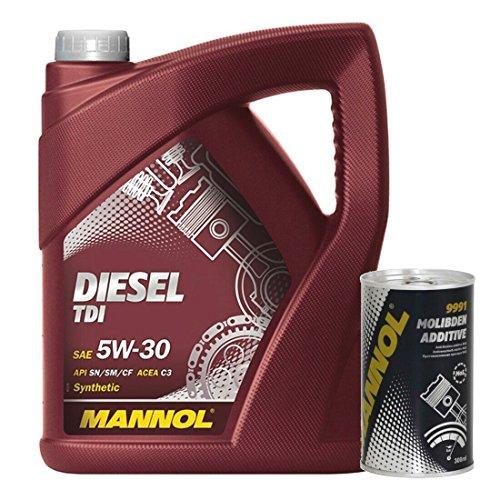 5 Liter Motoröl Mannol Diesel TDI 5W30 Motorenöl 300 ml Molibden Additiv Motoröl Zusatz MoS2
