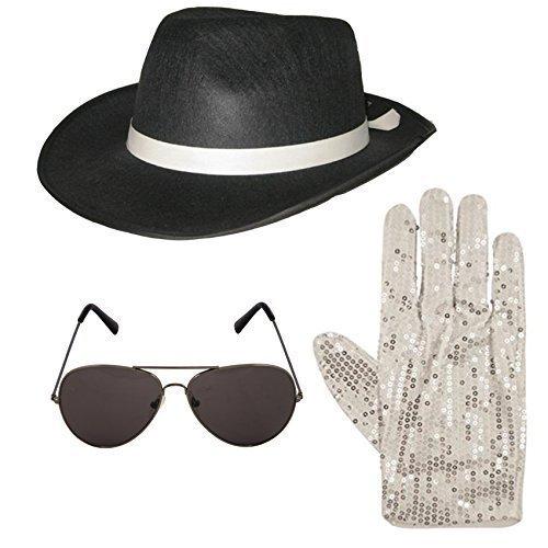 (Unbekannt Michael Jackson Style 3 tlg Satz Hut Aviator Sonnenbrille 1980s Jahre Kostüm (schwarz))