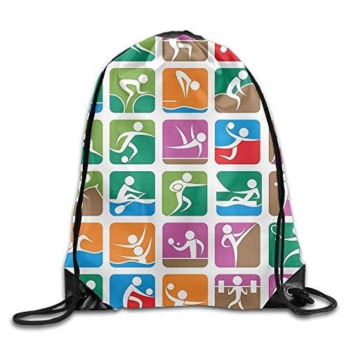 Setyserytu Sporttasche mit Kordelzug, Sportrucksack, Reiserucksack, Olympics Pictograms of The Summer Sports Sailing Wrestling Boxing Fencing Weightlifting Bags School Gym Backpack