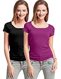 Fashion Line Premium Quality Stylish Printed Round Neck T Shirts For Women _Color : Black and Purple _Material : Cotton (Pack of 2 )