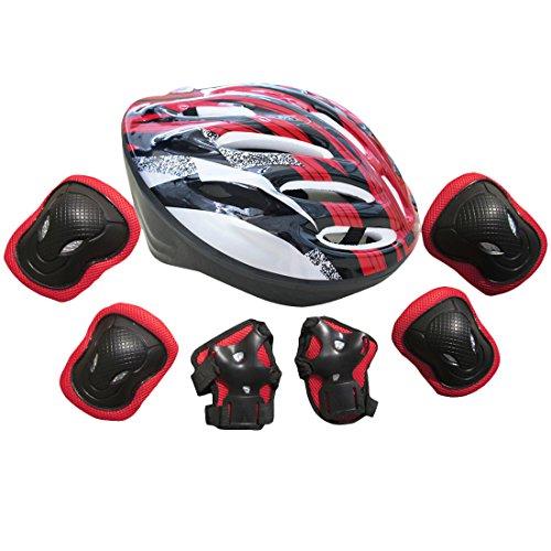 YAKOK Kinderhelm-Set, 7-teilig, Kinderhelm, Sicherheit mit Schutzausrüstung für Fahrrad, Roller, Skateboard, für Kinder, Jungen und Mädchen, 7-15 Jahre Alt, rot, 58-62 cm