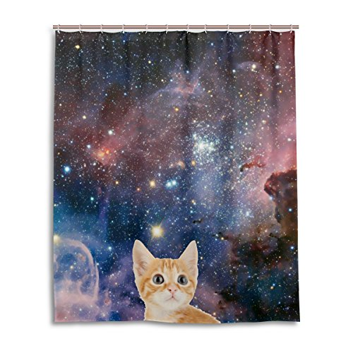 Bad Vorhang für die Dusche 152,4x 182,9cm, Galaxy Space Nebel Star Universe Meteor Katze, Polyester-Schimmelfest-Badezimmer Vorhang (Star-dusche Vorhang-set)