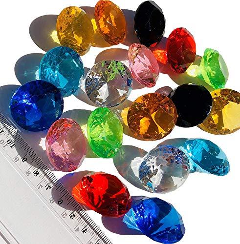CRYSTAL KING 18 Stück 30mm große Bunte Deko-Diamanten Brillianten Acryl-Steine bunt Gltzersteine Schmuck-Steine Strass-Steine Streu-Deko Tisch-Deko - Große Schmuck