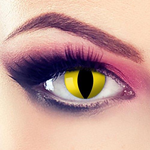 Taffstyle® Farbige Linsen crazy Fun Halloween Karneval Kostüm Kontaktlinsen Motivlinsen 3 Monatslinsen ohne Stärke Gelb Katze - Yellow Cat (Kontaktlinsen Farbe)
