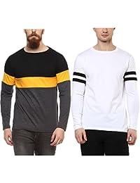 Veirdo Printed Full Sleeve Black/White Round Neck Men's Cotton Tshirt-Combo tshirt-pack of 2