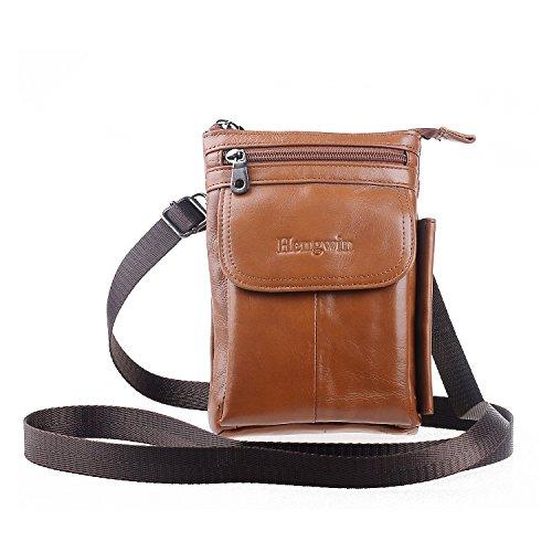 Hengying Spalla in vera pelle cintura borsa sacchetto dell'imbracatura custodia cellulare sacco tasca borsa arrampicata trekking