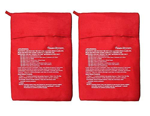 Satz 2 Mikrowellen - Kartoffel - Herd -Ttasche - Kartoffel - Express - Beutel, Perfekte Kartoffeln Nur in 4 Minuten - Rot