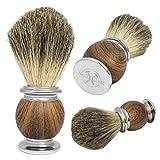 Nobelisk Premium Rasierpinsel aus Dachshaar mit hochwertigem Griff Zink-Eisenlegierung | Rasierpinsel aus Echthaar (Braun)