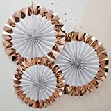 Ginger Ray Rose Gold Hanging Party Pinwheel Fan Decorations x 3 - Team Bride