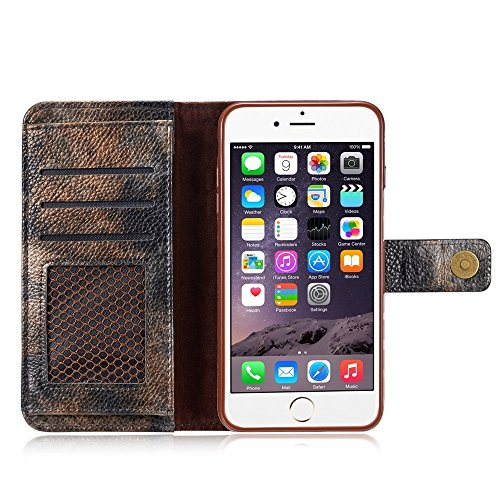 GR Premium PU-Leder horizontale Flip Stand Wallet Case Cover mit Kartensteckplätzen für iPhone 6 Plus und 6s Plus ( Color : Yellow ) Darkgray