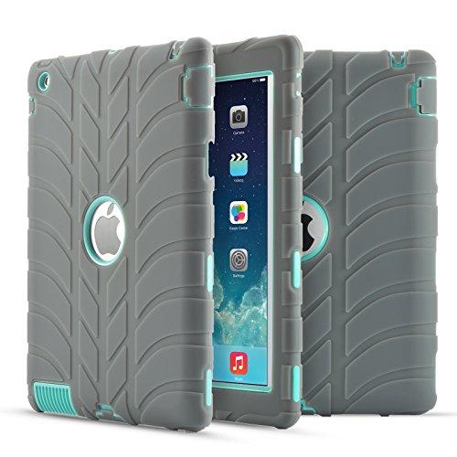 Case, iPad 2, stoßfest Silikon Antirutsch Hohe uzer (Tire Pattern Impact Resistant Hybrid Drei Schicht Hard PC + Silikon Armor Schutzhülle für iPad 2/3/4, Gray+Aqua ()