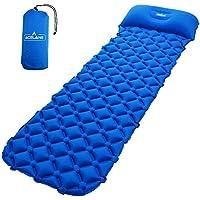 Acelane - Colchoneta Aislante Inflable Para Dormir de Acampada - Esterilla Colchón con Almohada Compacto Para Acampar Camping Senderismo (Azul)