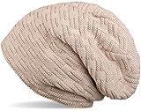 styleBREAKER warme Feinstrick Beanie Mütze mit Flecht Muster und sehr weichem Fleece Innenfutter, Unisex 04024058, Farbe:Beige