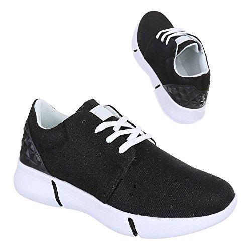 Sneaker Ital-design Sneaker Basse Da Donna Sneakers Basse Con Lacci Scarpe Casual Nere L102
