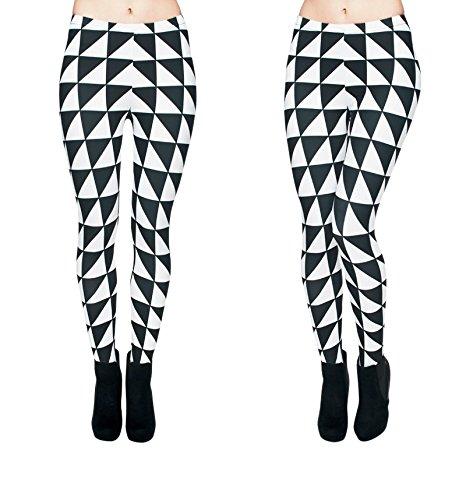 Hanessa Frauen Leggins Schwarz Weiß Bedruckte Leggings Hose Frühling Sommer Kleidung Triangle Karo