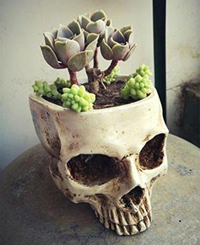 Halloween Totenkopf Horrible Blumentopf Kunstharz Künstliche Skull Head Blumentopf