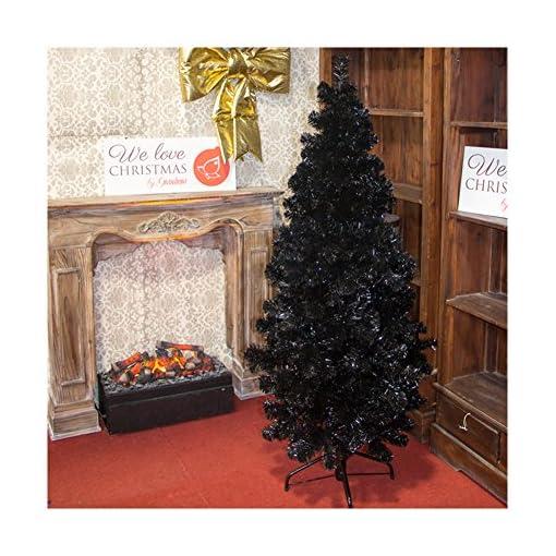 Albero Di Natale Nero.Albero Di Natale Abete Slim Nero 150cm Negozio Online Alberi Di